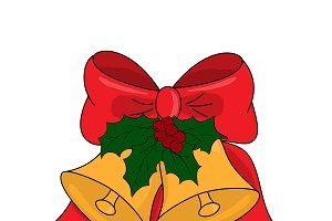 Christmas jingle bells with red bow,
