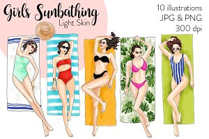 Girls Sunbathing- Light Skin Clipart