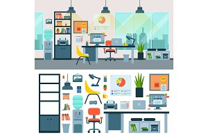 Office vector work place with