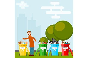 Waste recycling vector garbage