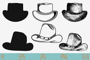 Cowboy hat set vector svg png eps
