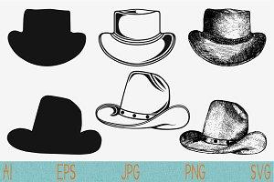 Cowboy hat set vector svg png eps