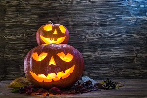 Grinning pumpkin latern or jack-o'-l