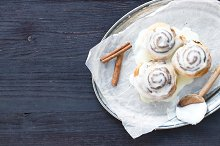 Cinnamon rolls with cream icing