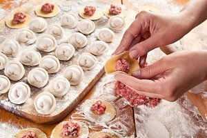 Dumplings. Dough with meat filling o