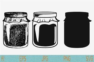 Mason jar Jam Jar set vector svg png