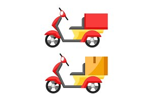 Goods delivery by motorcycle.