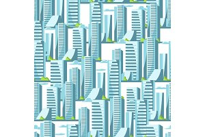 City skyscrapers seamless pattern in