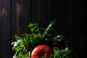 Fresh tomato with herbs