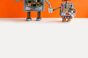 Creative design Robotic family. Big