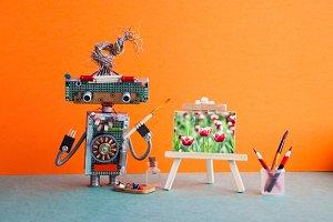 Robot artist wooden easel still life
