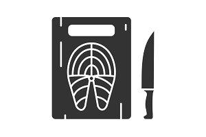 Cutting board with fish steak icon