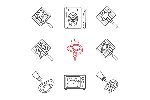 Food preparation linear icons set