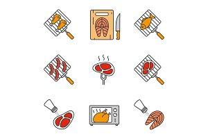 Food preparation color icons set