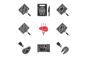 Food preparation glyph icons set