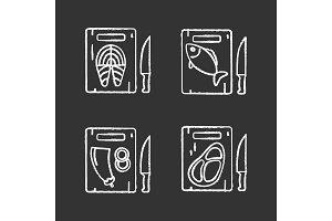 Food cutting chalk icons set