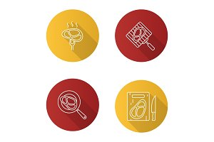 Meat preparation icons set