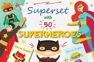 Super set with 50 SUPERHEROES