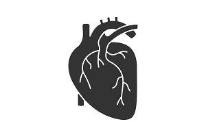 Human heart anatomy glyph icon