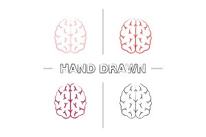 Human brain hand drawn icons set