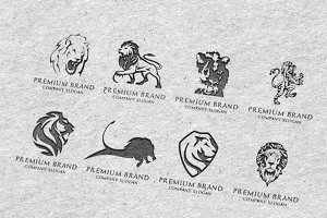 Lion Logo Bundle - Mock-Up & Vector
