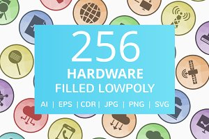 256 Hardware Filled Low Poly Icons