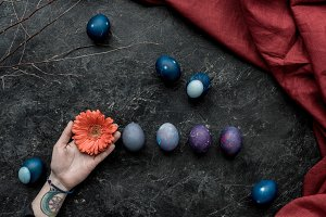Woman holding gerbera by colored egg