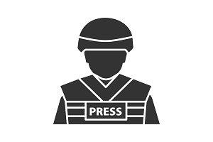War correspondent glyph icon