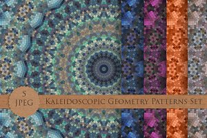 Kaleidoscopic Geometry Patterns Set