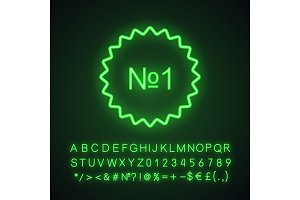 Number one sticker neon light icon