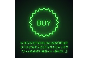 Buy sticker neon light icon