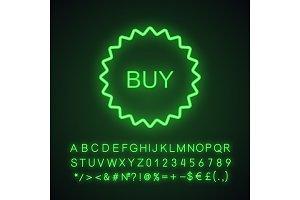 Buy sticker neon light icon