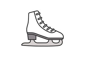 Ice skate color icon