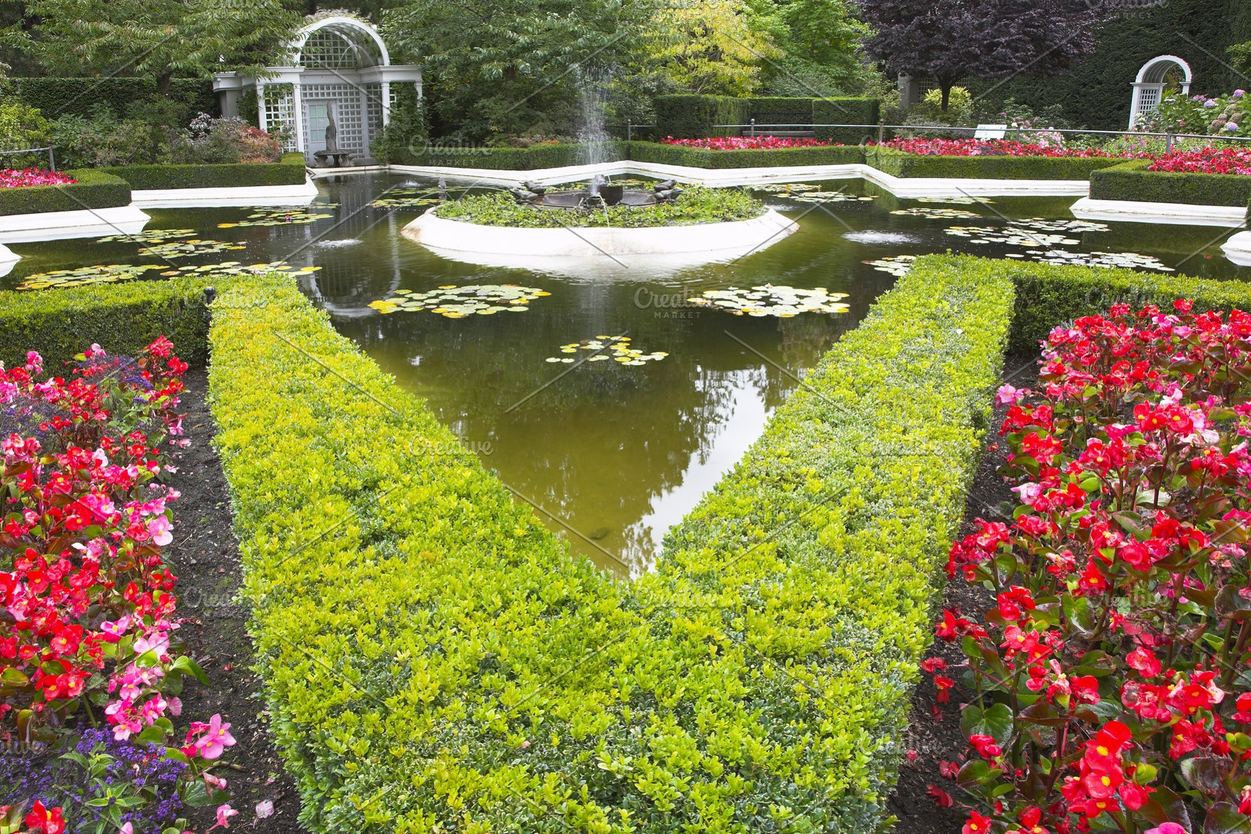 Save Pond Flower Bed And Fountain