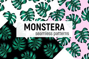 Monstera seamless patterns