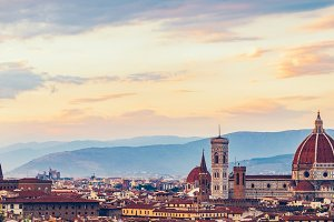 Skyline of ancient city of Florence,