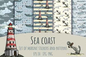 Sea coast. Stickers and Patterns