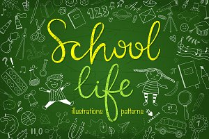 School Life Illustrations + Patterns