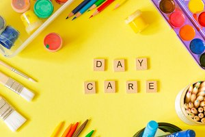 Day care concept - art supplies and