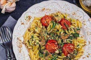 Homemade fusilli pasta