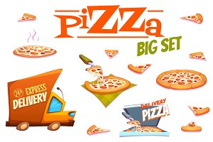 Vector set of Pizza design elements