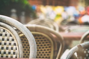 Rattan chairs in the summer cafe