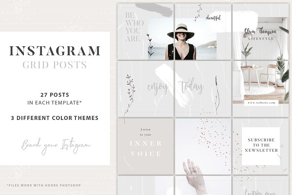 Instagram Grid Posts - 3 Themes