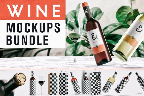 Product Mockups: As Good As Possible - Wine Mockup Bundle