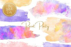 Watercolor Paint Party Clipart