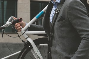 Man cycling to office