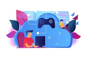 Cloud gaming concept vector