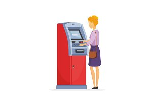 Young woman using ATM - illustration
