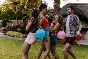 Hilarious balloon popping race