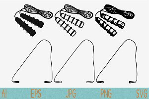skipping rope jump svg set vector